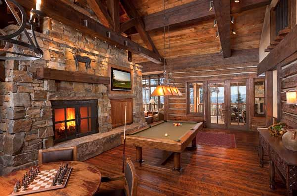 a playful game room on the main level of the home encourages guests