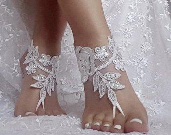 75173e8f394a 7 color Bridal barefoot sandals beach wedding barefoot sandal ...