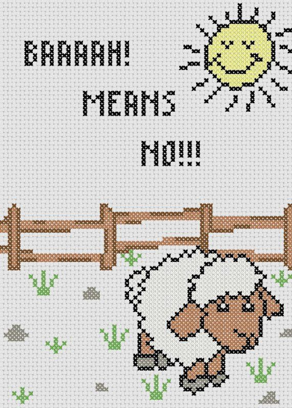 Baaaah! Means No! Offensive funny cross stitch pattern sheep redneck