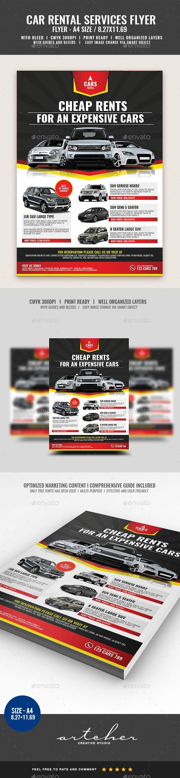 a4 flyer advertisement car car lease car rent car services car