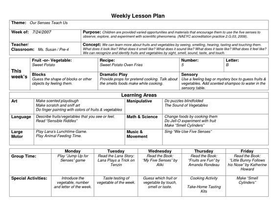 NAEYC Lesson Plan Template for Preschool Sample Weekly Lesson - sample lesson plan