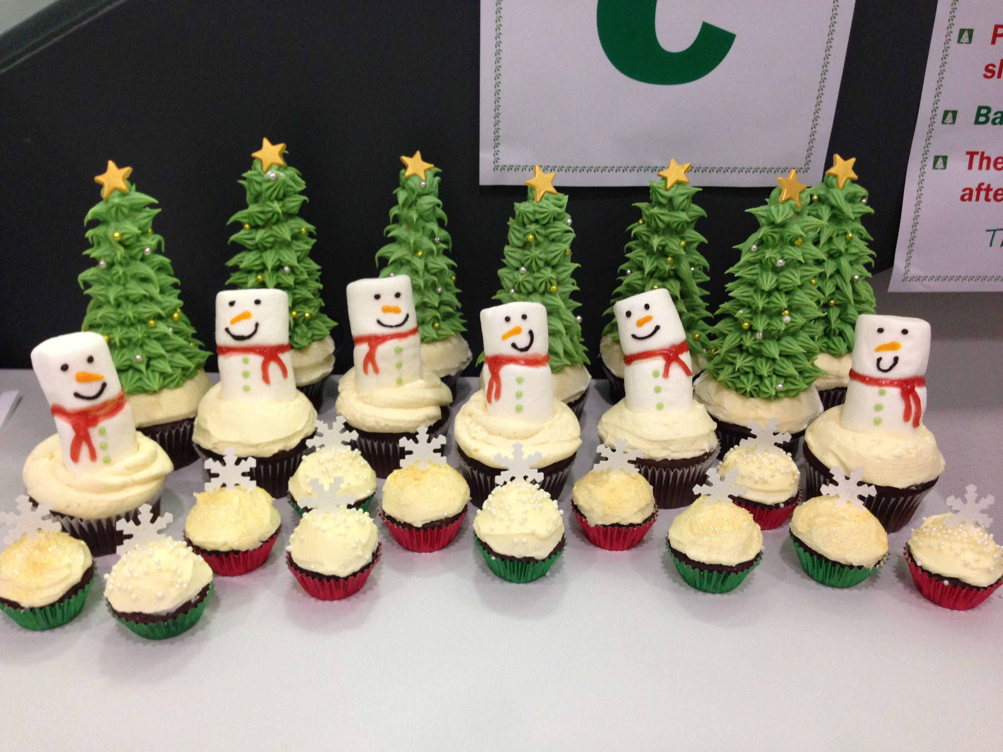 Christmas Cupcakes Christmas Tress Made With Ice Cream Cones Snowmen