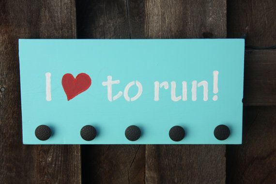 Race Medal Plaque I love to run by OrdinaryB on Etsy, $25.00