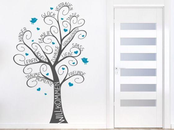Für die ganz Familie: der zweifarbige Wandtattoo Willkommensbaum ist einzigartig in seiner Art! #Baum #Wandtattoo #bunt #Willkommen