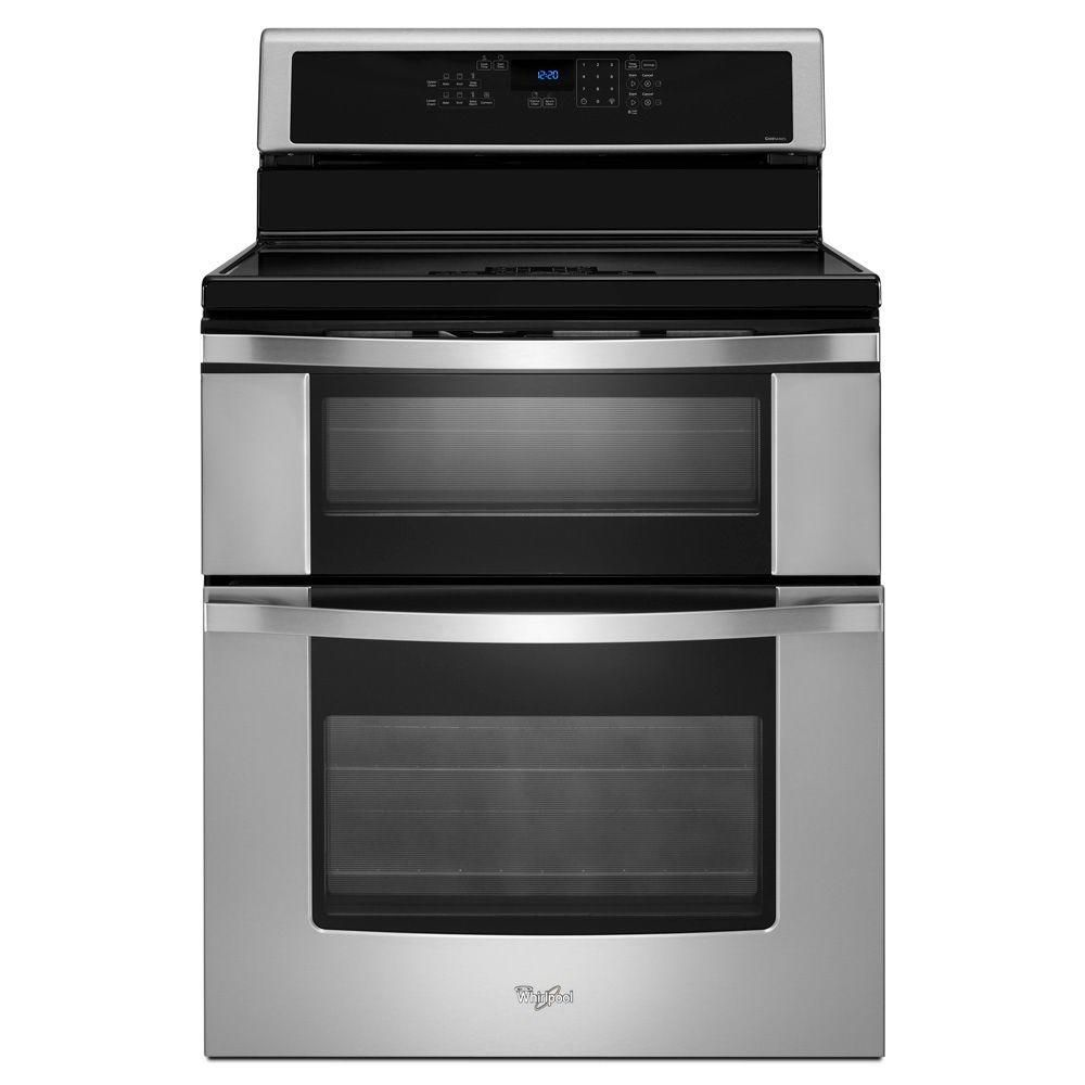 Whirlpool 6 7 Cu Ft Double Oven Electric Induction Range With Self Cleaning Convection Oven In Stainless Steel Wgi925c0bs The Home Depot Electric Double Oven Double Oven Electric Range Double Oven