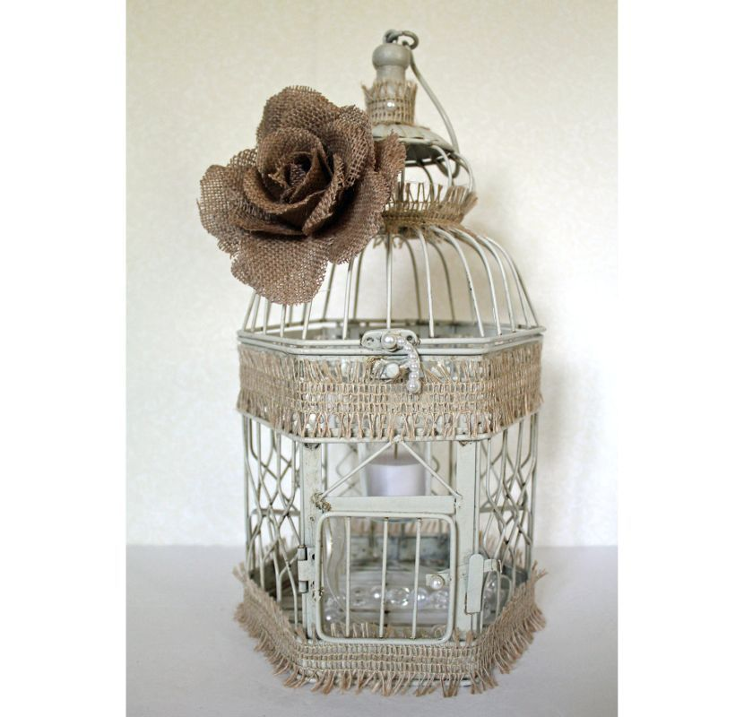 Amazing Rustic Birdcage With Burlap Rose Wedding Table Centerpiece