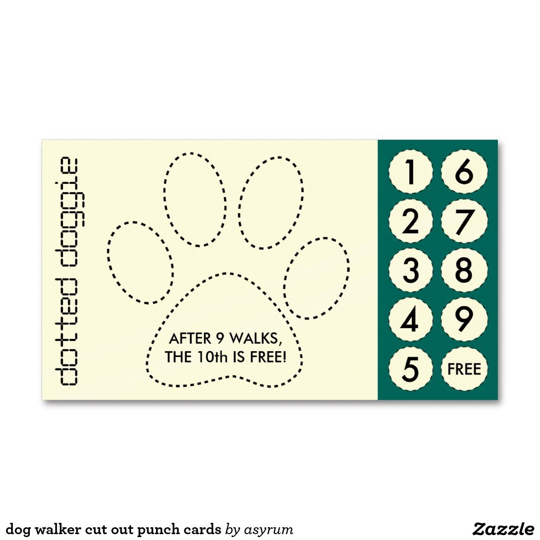 Dog walker cut out punch cards | Dog, Pet sitting and Dog walking