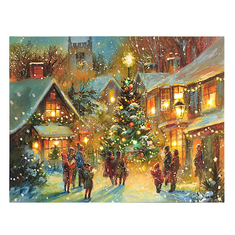 Village Square at Christmas LED Canvas Art Print | A very Merry ...