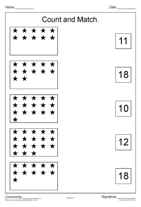 Count and Match Numbers 1 to 20 worksheet part 2