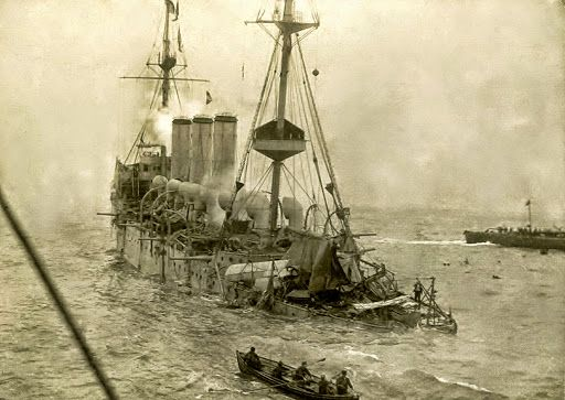 HMS HERMES 1914 TORPEDOED - HMS Hermes was a Highflyer-class protected cruiser built for the Royal Navy in the 1890s.
