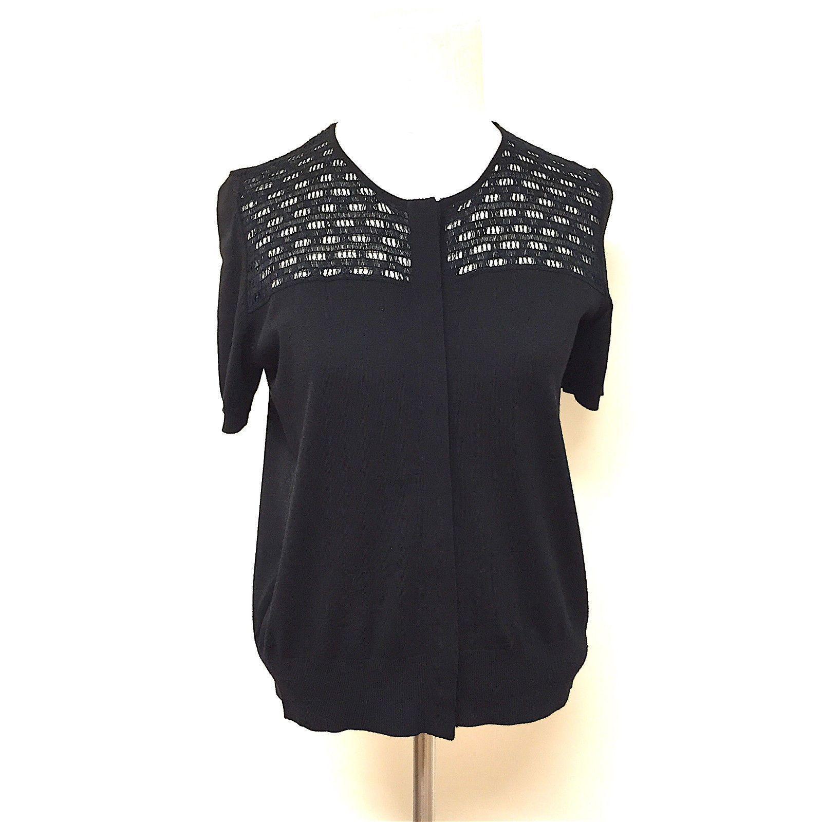 AKRIS PUNTO Black Wool Lacy Knit Detail Short-Sleeve Cardigan ...
