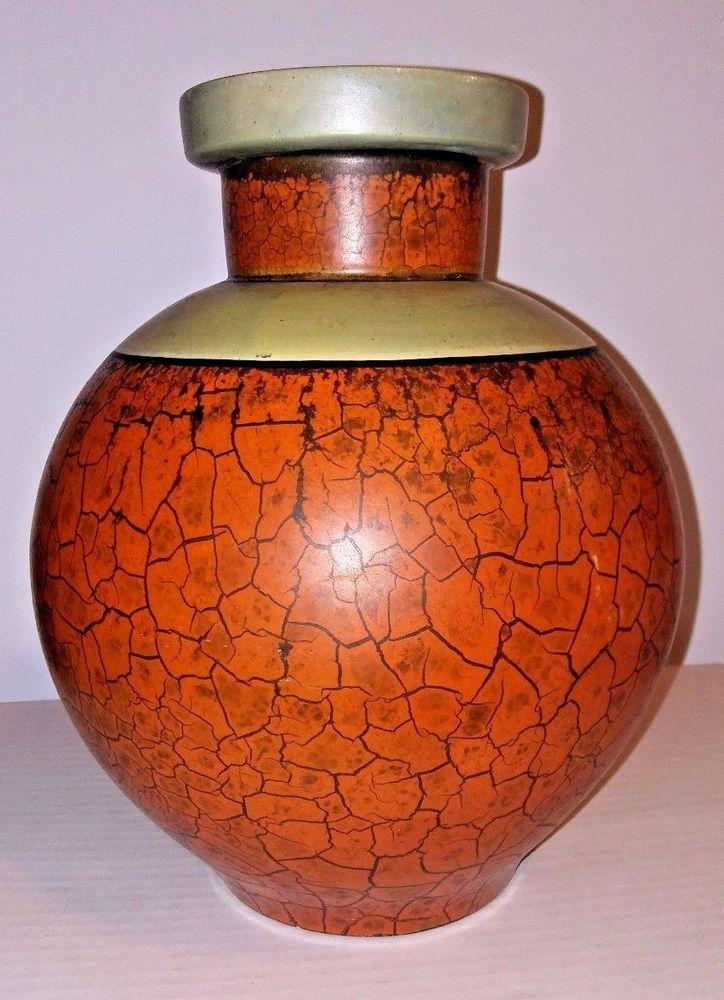 Camark Arkansas Art Pottery Vase Modernist Orange Crackle 1920s