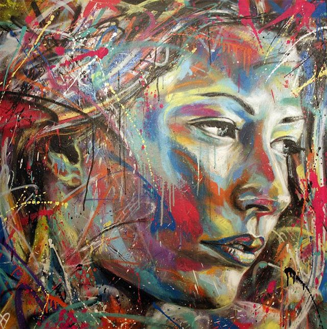The Explosively Colorful Spray Paint Portraits of David Walker street art portraits painting