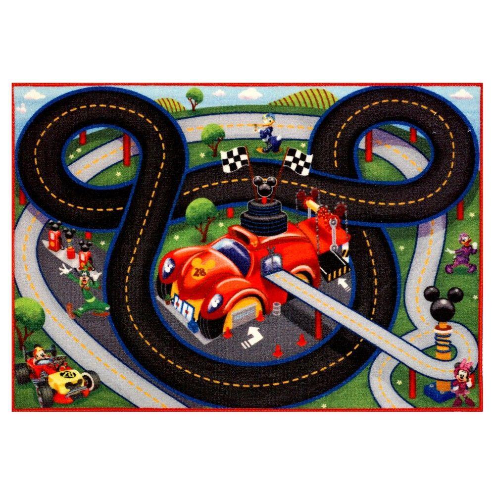 Mickey mouse green gray game rug 27x38 tapis de