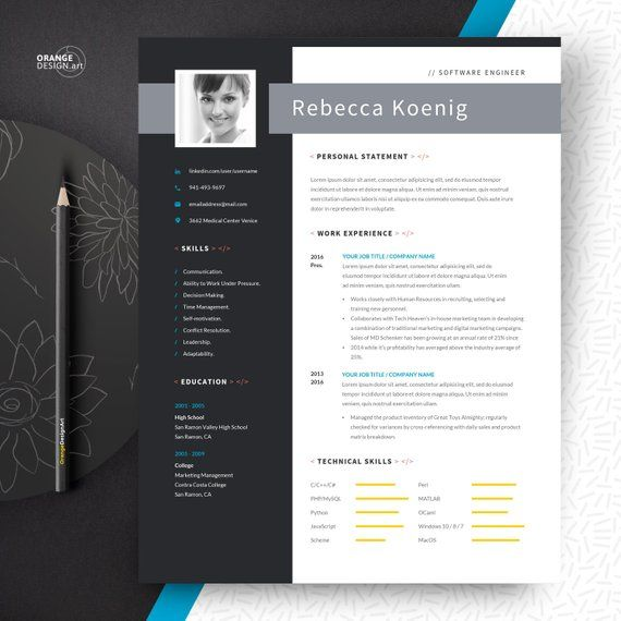 Software Engineer Resume Template with Photo and Cover ...