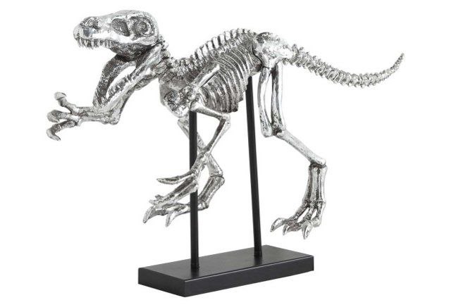 "32"" Dinosaur Figurine, Silver"