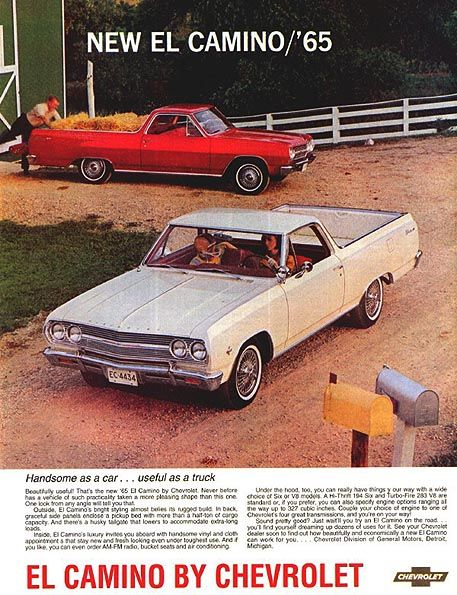 1965 Chevrolet El Camino Advertisement Automobile Advertising Car Advertising Chevrolet