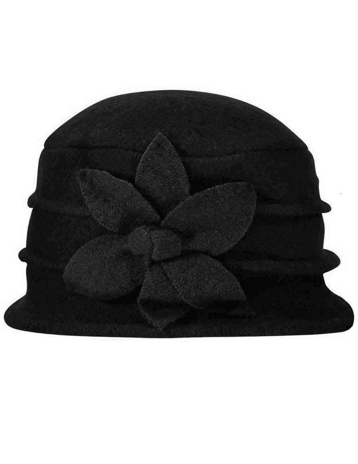 c26b1e03cf4 Dahlia Women s Daisy Flower Wool Cloche Bucket Hat - Black at Amazon Women s  Clothing store