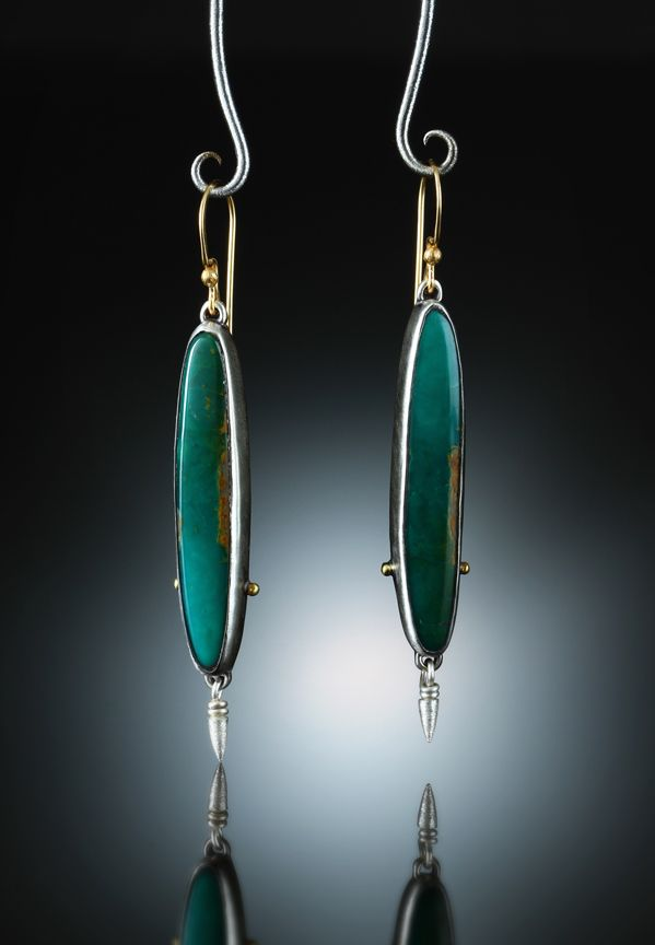Royston Turquoise Earrings. Fabricated Sterling Silver & 18k. www.amybuettner.com