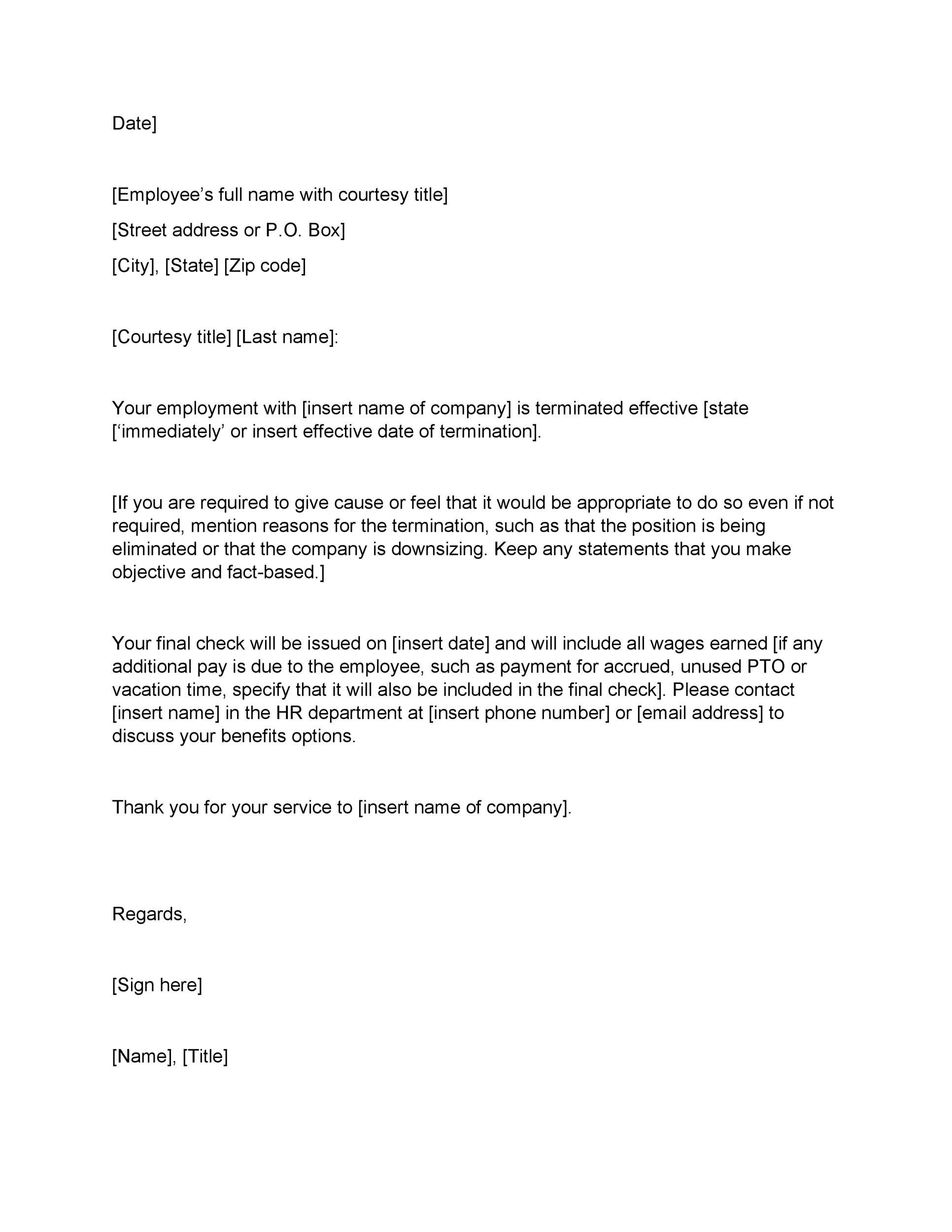 Termination Letter To Employee Personal Reference Letter Professional Reference Letter Letter Templates Free Termination of employment letter template