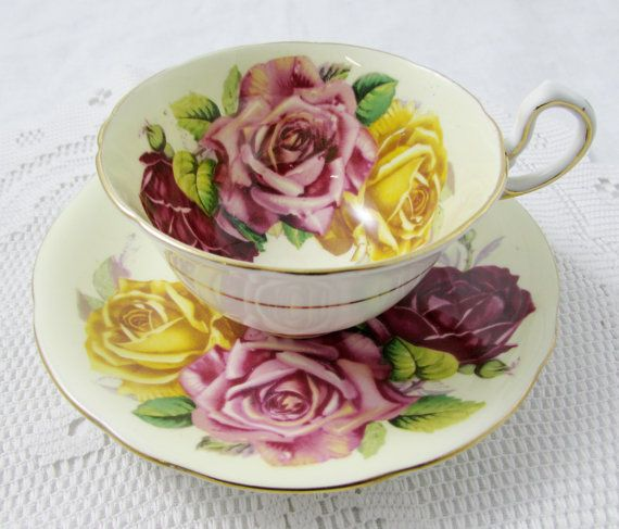 Aynsley Tea Cup and Saucer with Pink, Red, and Yellow Rose, Cabbage Roses, Vintage Bone China