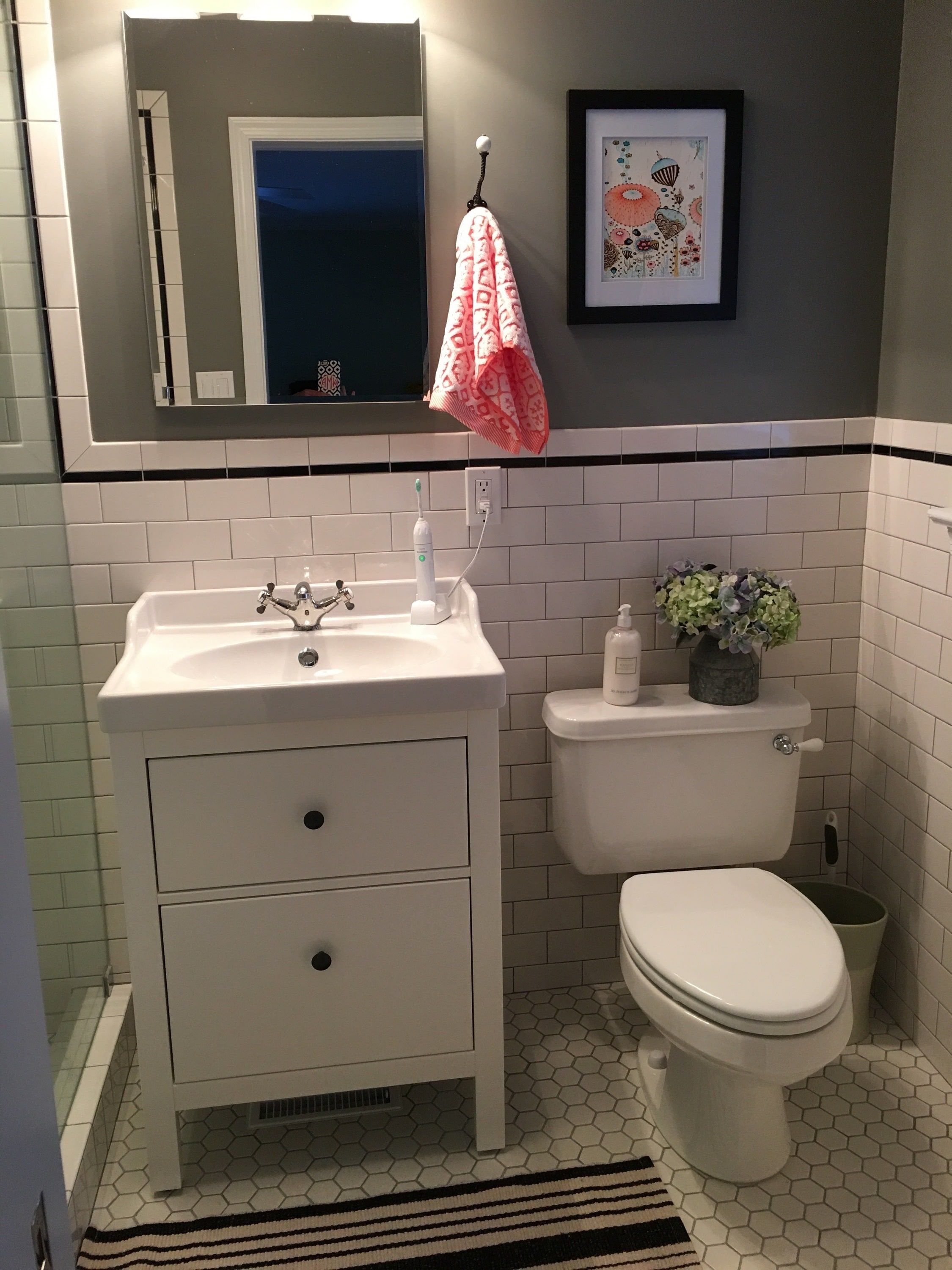 Bathroom Interiors Small Bathroom With Ikea Sink And Hemnes Cabinet More Bathroom