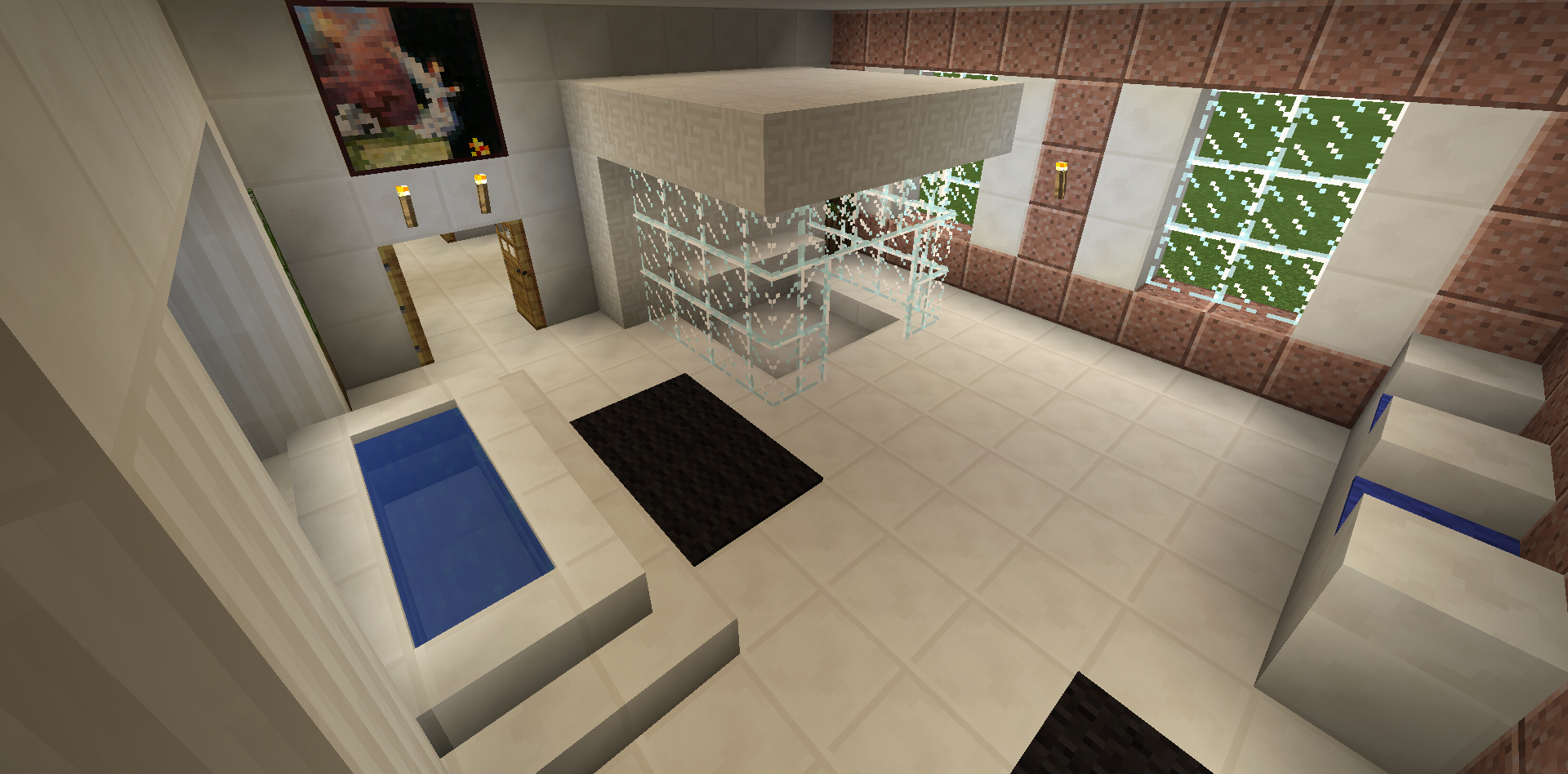 Bathroom Ideas On Minecraft minecraft bathroom glass shower garden tub sink | minecraft