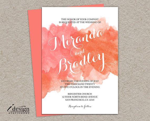 A DIY watercolor wedding invitation, featuring a beautiful coral ...