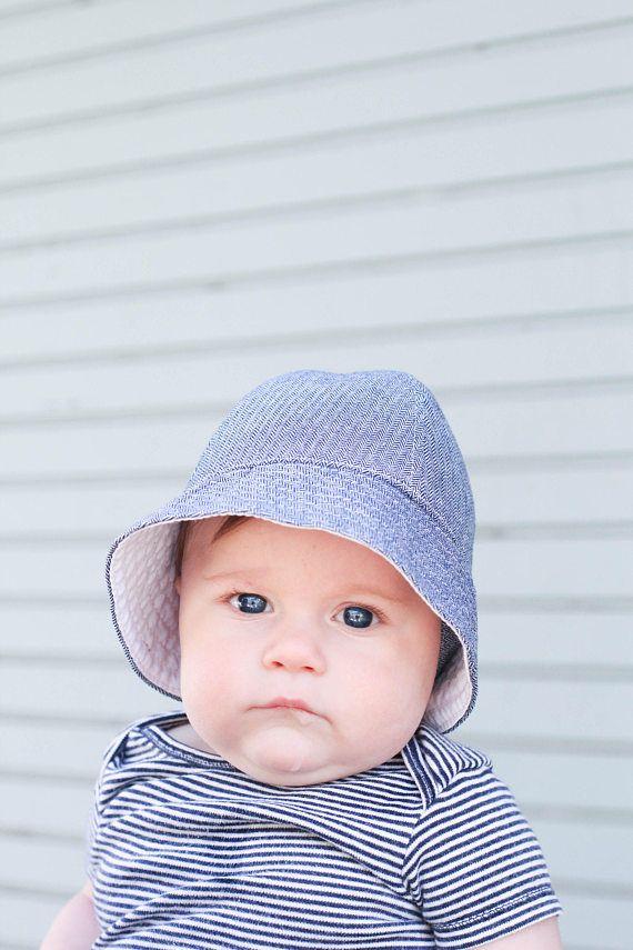 12e566e43c9fc Baby Bucket Sun Hat in Blue Herringbone Fabric