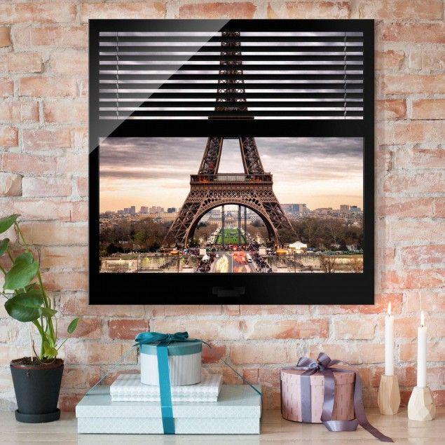 Glasbild Fensterblick Jalousie Eiffelturm Paris Quadrat 1 1