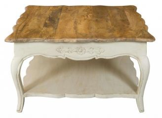 Etienne Country French Cream Square Coffee Table With Shelf