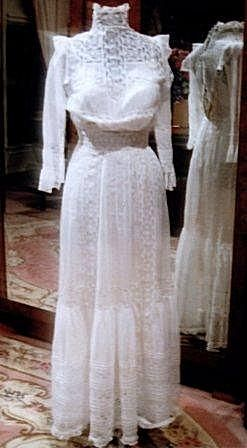 1900 small white batiste lingerie dress  lace white
