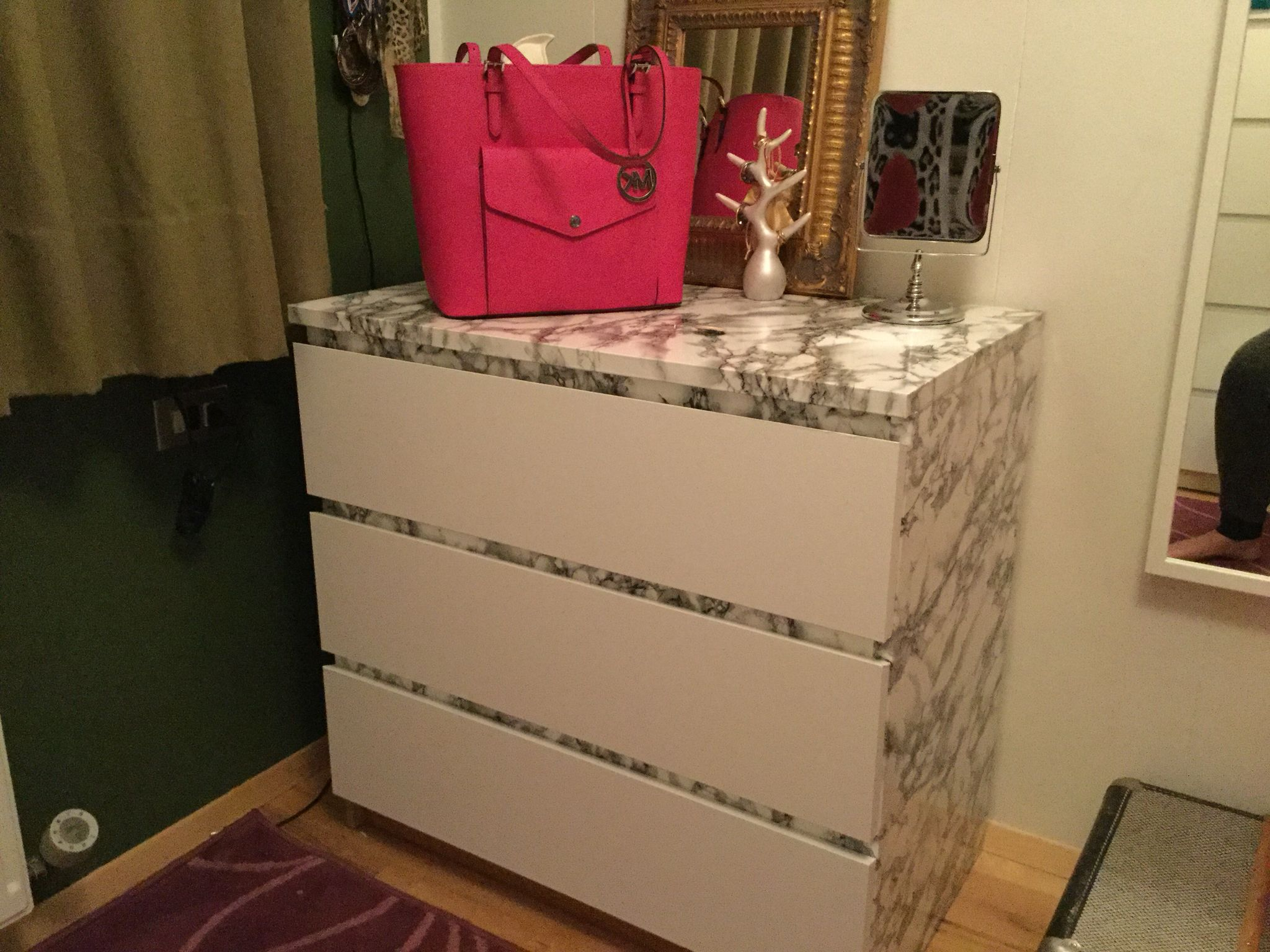 Ikea hack. Malm dresser with white and marble self ...