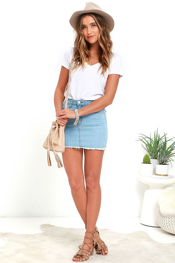 Pop and Lock Light Wash Denim Mini Skirt | Denim mini skirt ...