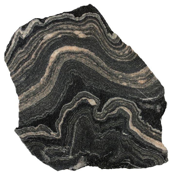 Gneiss - Metamorphic rocks This folded migmatitic gneiss from the ...
