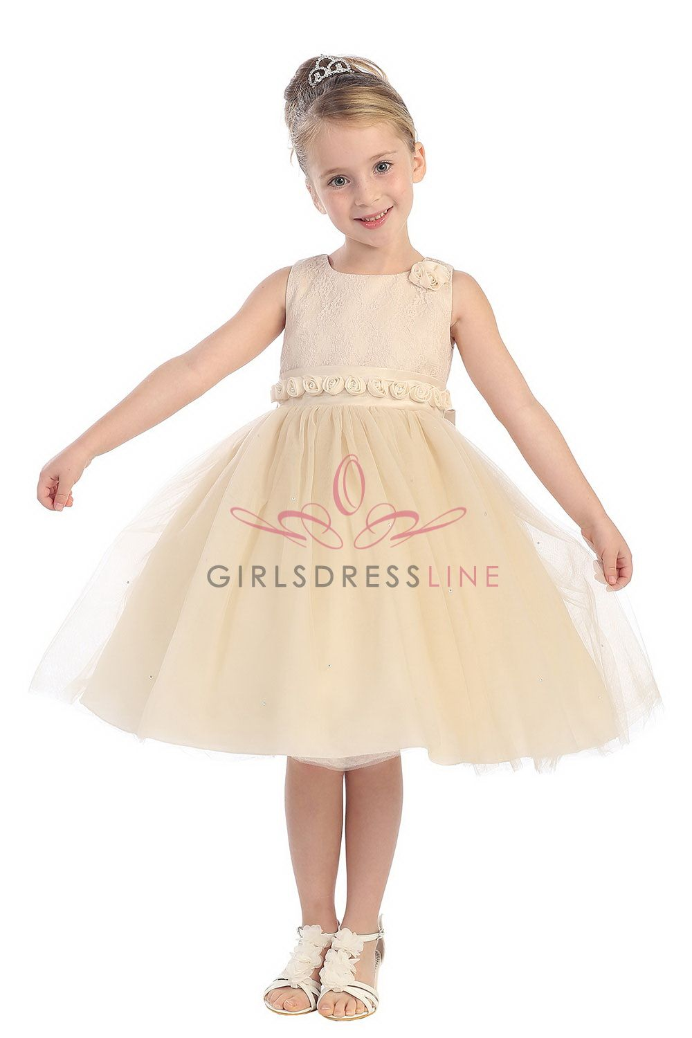 Champagne Sleeveless Lace Bdice Tulle Dress with Rosetti Detail T5584-CH T5584-CH $55.99 on www.GirlsDressLine.Com