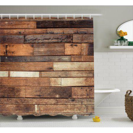 Wooden Shower Curtain Rustic Floor Planks Print Grungy Look Farm