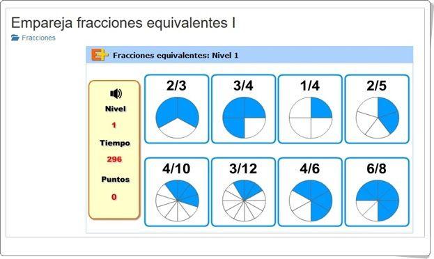 Empareja Fracciones Equivalentes I I 5º Primaria Fracciones Equivalentes Fracciones Matematicas Fracciones