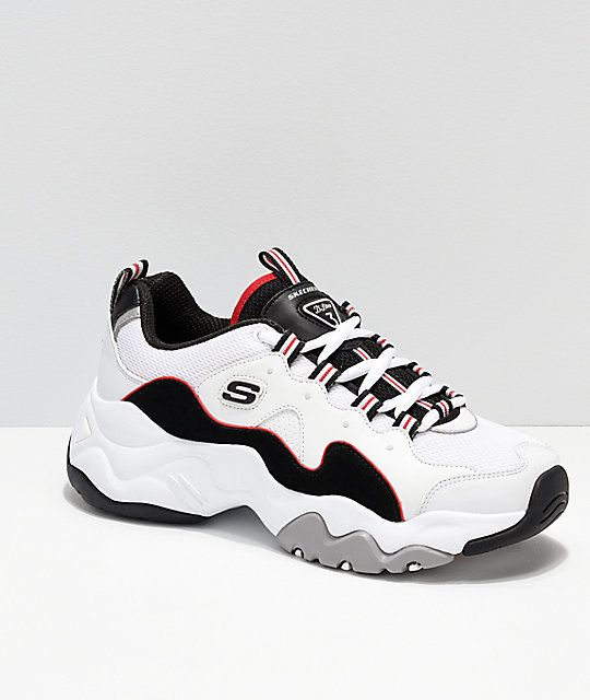 Skechers D'Lites 3.0 Wavy Suede White, Red & Black Shoes