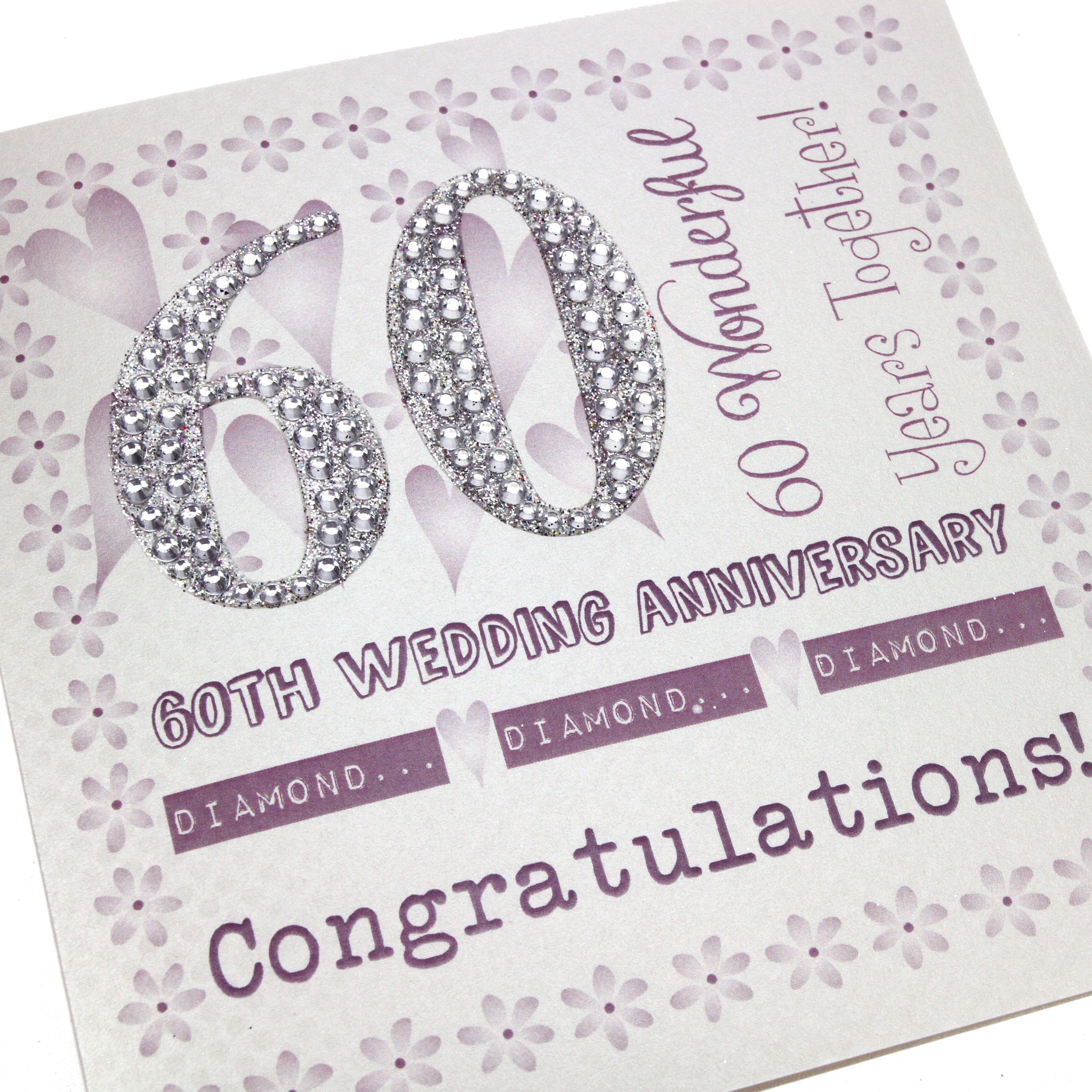 Handmade Diamond Anniversary Card Purple Floral Border Embossed Silver Glittery Numbers
