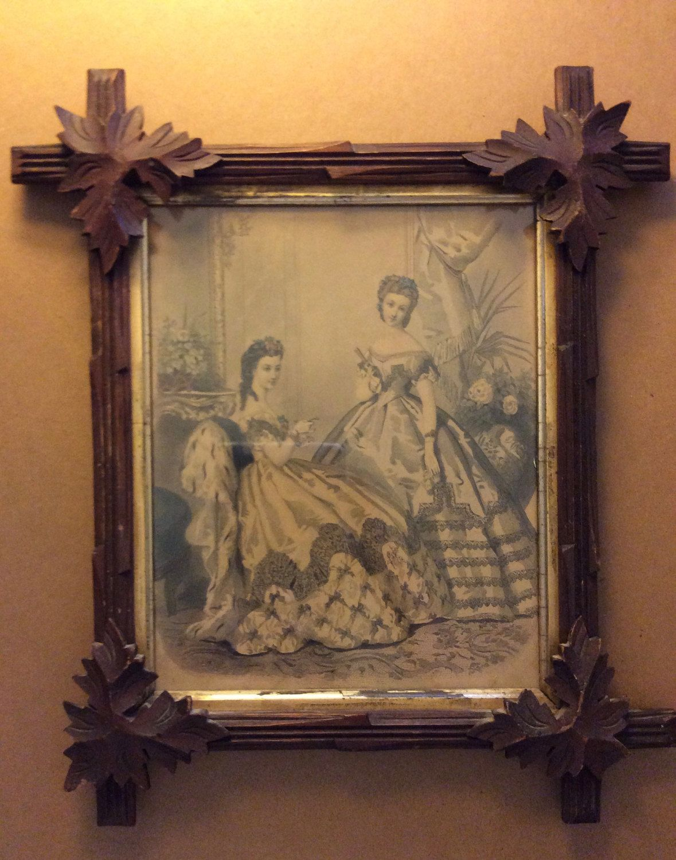 Antique Black Forest Carved Walnut Wood Frame, Oak Leaf Adirondack ...