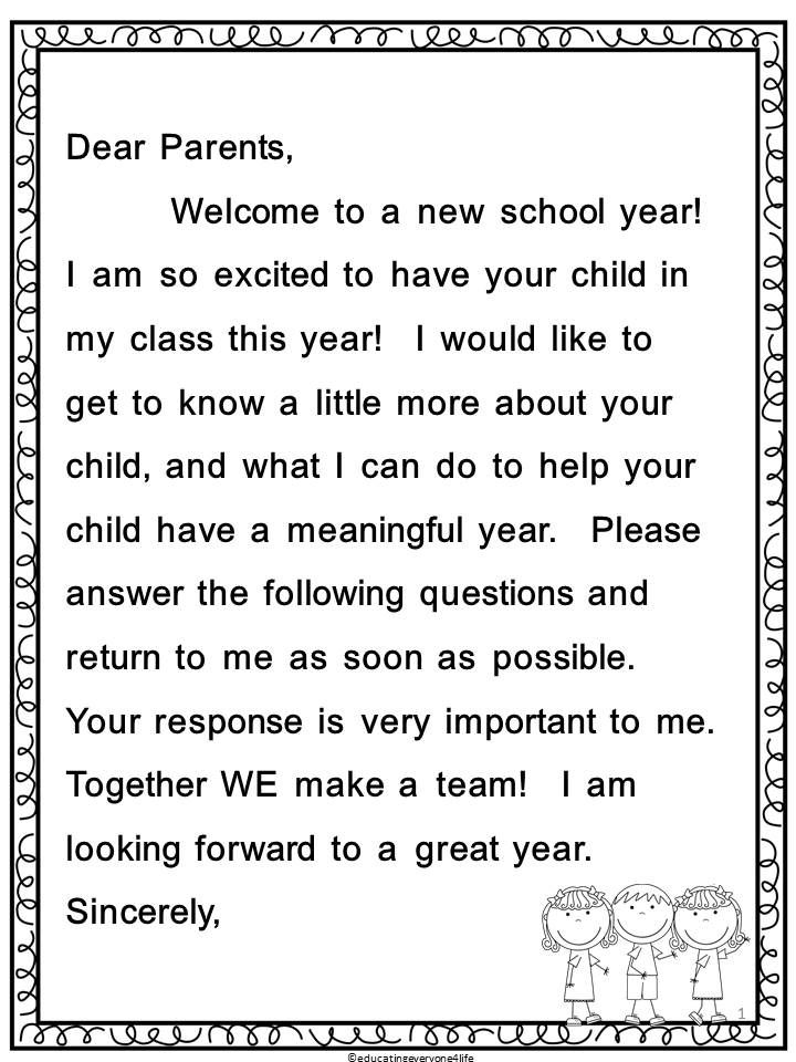 Back To School - Parent Letter and Survey School tool, Parents - Sample Invitation Letter