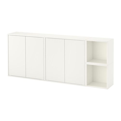 Eket White Wall Mounted Cabinet Combination 70 X175 X25 X70 Cm Ikea Eket Wall Mounted Cabinet Ikea Wall