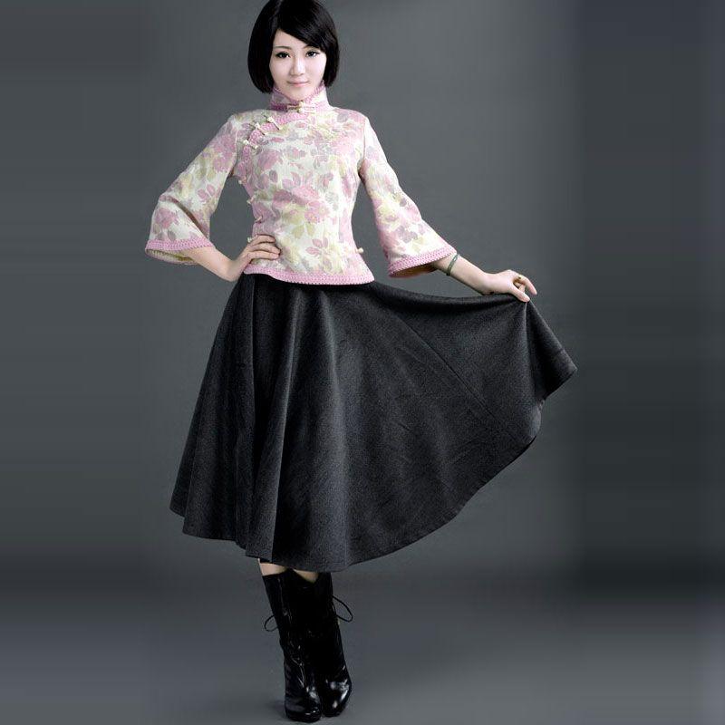 ROC Style Woolen Skirts Grey - $142 - SKU: 383877 - Buy Now: http://elegente.com/nzx.html #ChineseladyQipao #Qipao #Cheongsam
