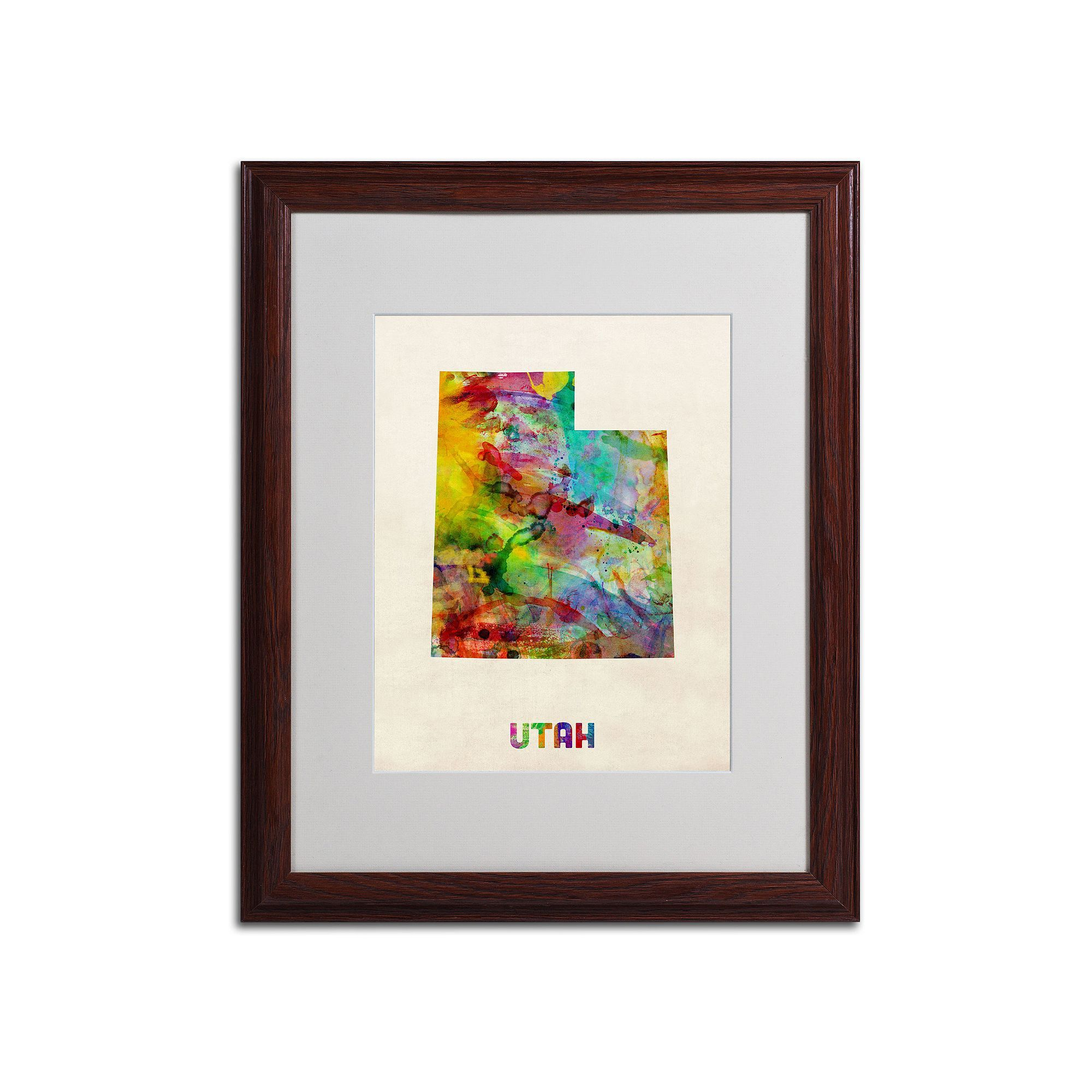 Trademark Global Watercolor State Wood Framed Canvas