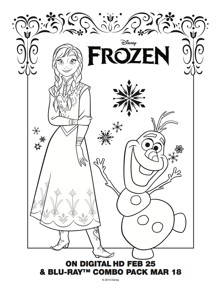 Frozen Party Coloring Activity Sheets Disney Themed Frozen