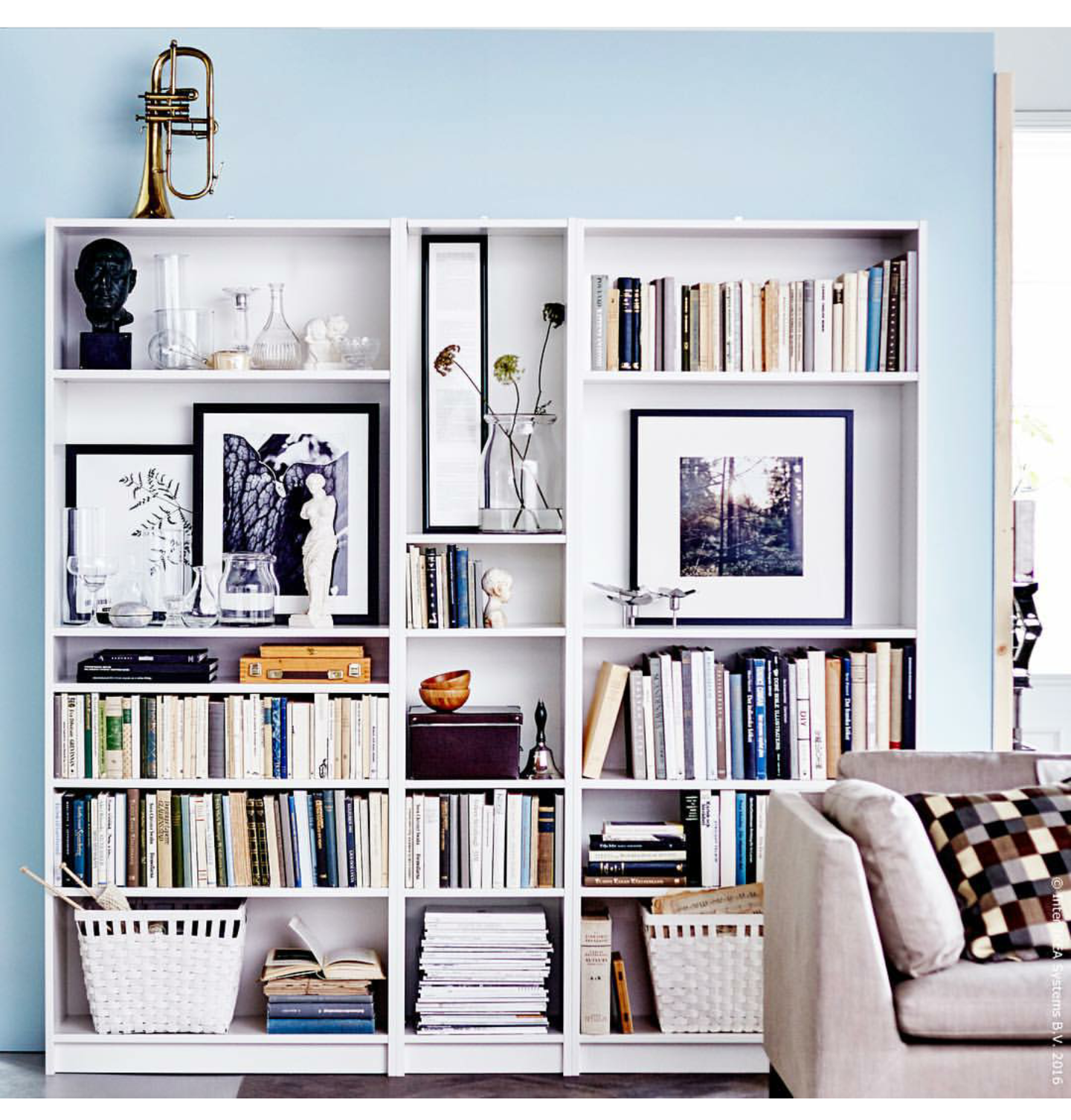 Multiple Ikea Billy Combination Home Living Room Bookshelves