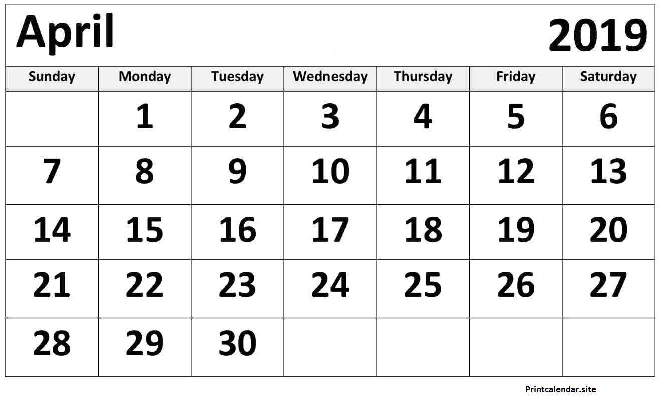 Monthly Calendar April 2019 Printable Blank Template Calendar