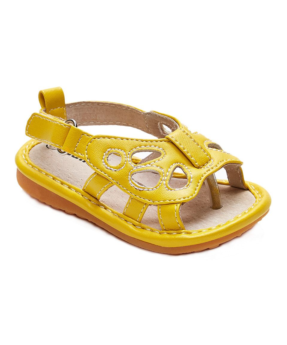 5626633b4a Love this Yellow Butterfly Squeaker Sandal by Laniecakes on  zulily!   zulilyfinds