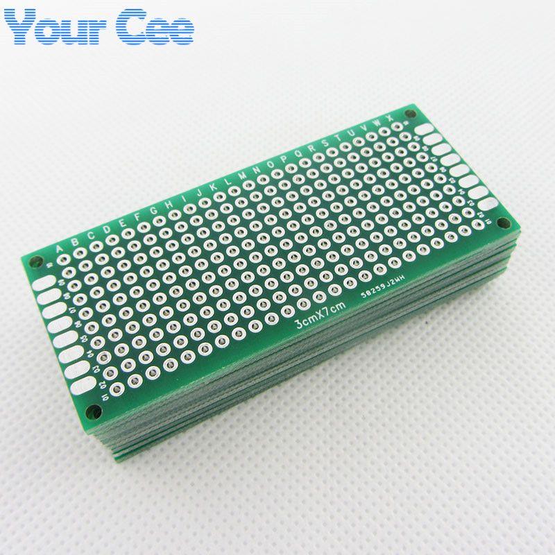 10 pcs 3X7 cm 3*7 cm Double Side Prototype pcb Universal para Arduino Breadboard 1.6mm2.54mm Prática DIY Kit Eletrônico Estanhado